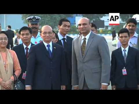 Myanmar leader Thein Sein arrives in New Delhi