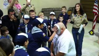 Cub Master John gets a pie in the face. Pack 91 Munson Thumbnail