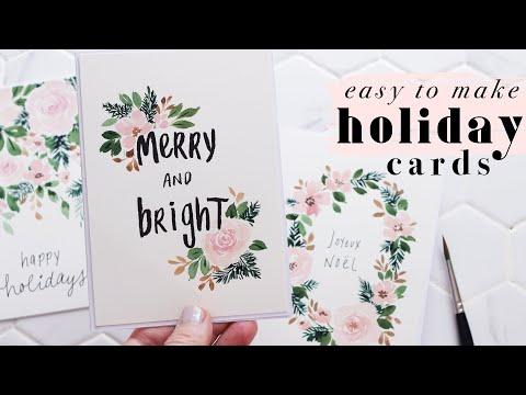 Easy Watercolor Holiday Cards   Vintage Florals