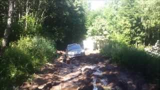 VW Touareg and Uaz 452 off road in mud