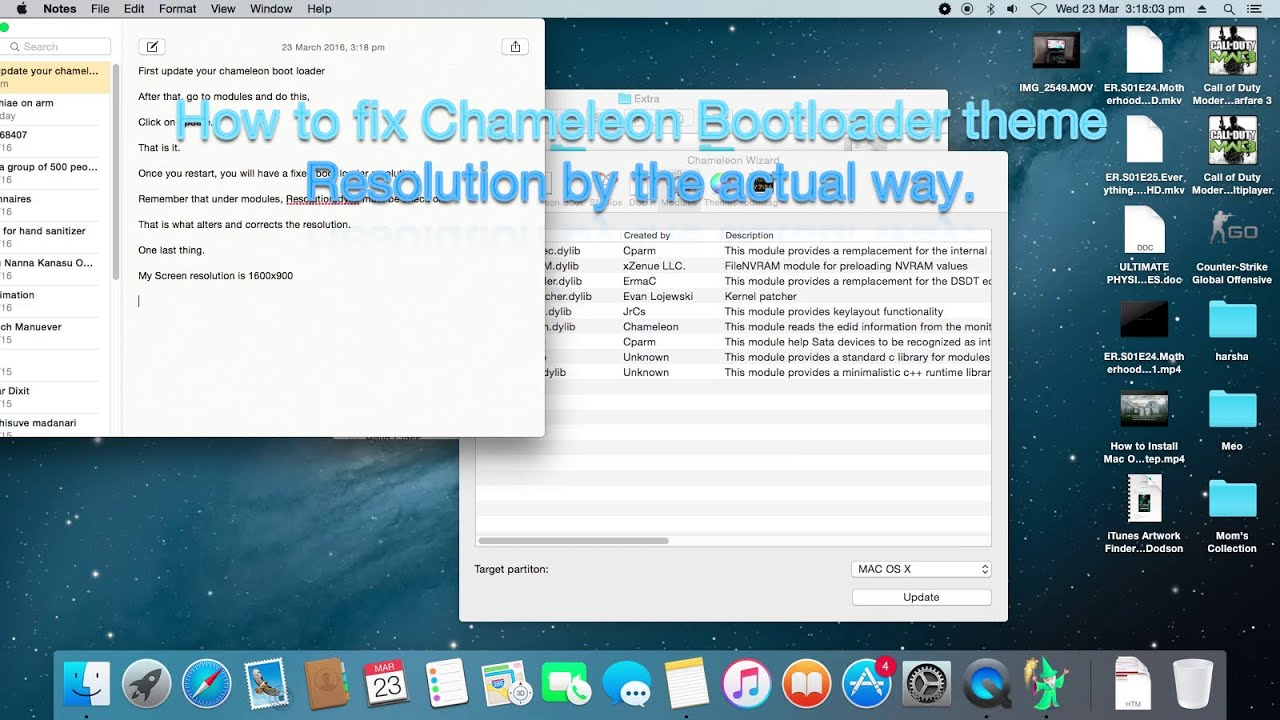 Hackintosh Chameleon boot loader resolution FIX perfectly  Actual way