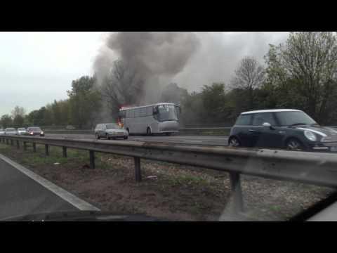 School Bus on Fire on A1M outside London, UK