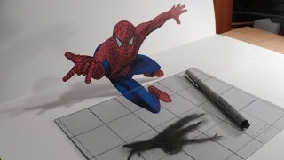 Drawing 3D Spiderman - How to Draw 3D Spiderman - 3D Trick Art - Vamos