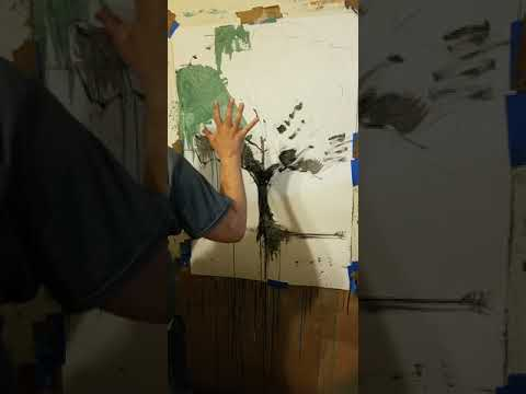 HOW TO PAINT an Abstract Tree - Acrylic on Paper by Artist Jose TRUJILLO