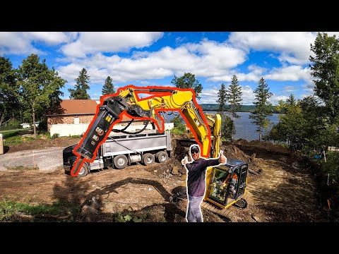 We Bought A Hammer Attachment For Our Excavator (CAT B8 Hoe-Ram)