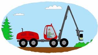 Мультик - Раскраска. Учим Цвета - Тракторы, работающие в лесу(, 2014-10-08T07:05:00.000Z)