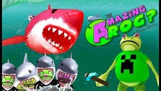 УДИВИТЕЛЬНАЯ ЛЯГУШКА и Красная акула МЕГАЛОДОН Все лягушки стали акулами AMAZING FROG KIDS CHILDREN
