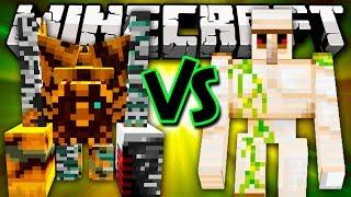 IRON GOLEM VS PUMPKIN GOLEM ALTER - Minecraft Batalha de Mobs - Pumpkin Patch Mod