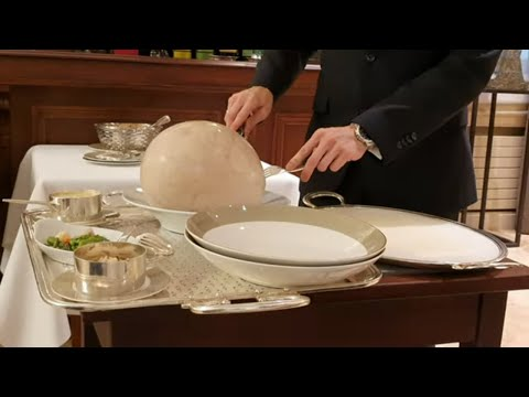 Table Serving Bresse Chicken Cooked In A Bladder 'à La Mère Fillioux' At 3 Michelin Star Paul Bocuse