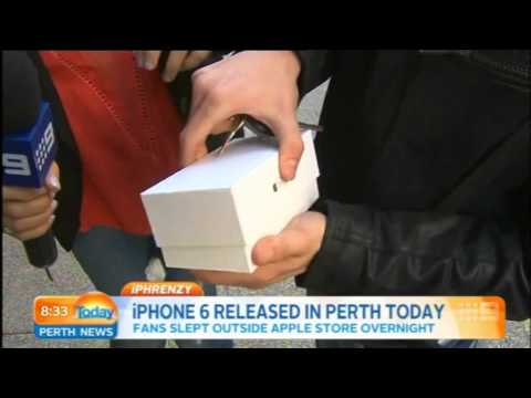 First person to buy an iPhone 6 in Perth immediately drops it during TV interview