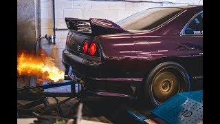 700hp R33 GTR shoots flames on the dyno!