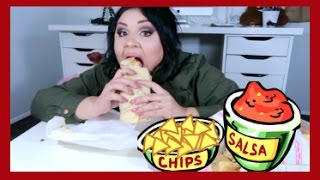 Carne Asada Burrito MUKBANG with Chips & Salsa