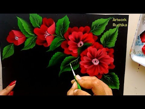 One Stroke Flower Painting   Acrylic Painting Tutorial