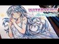 Watercolor Painting Timelapse Manga girl #4