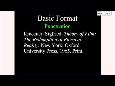 MLA Tutorial #2: Basic Citation Format