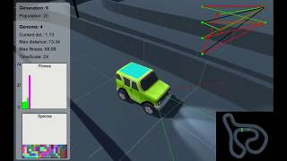 Car learns to drive - NeuroEvolution of Augmented Topologies (NEAT) for a 3D car made in Unity