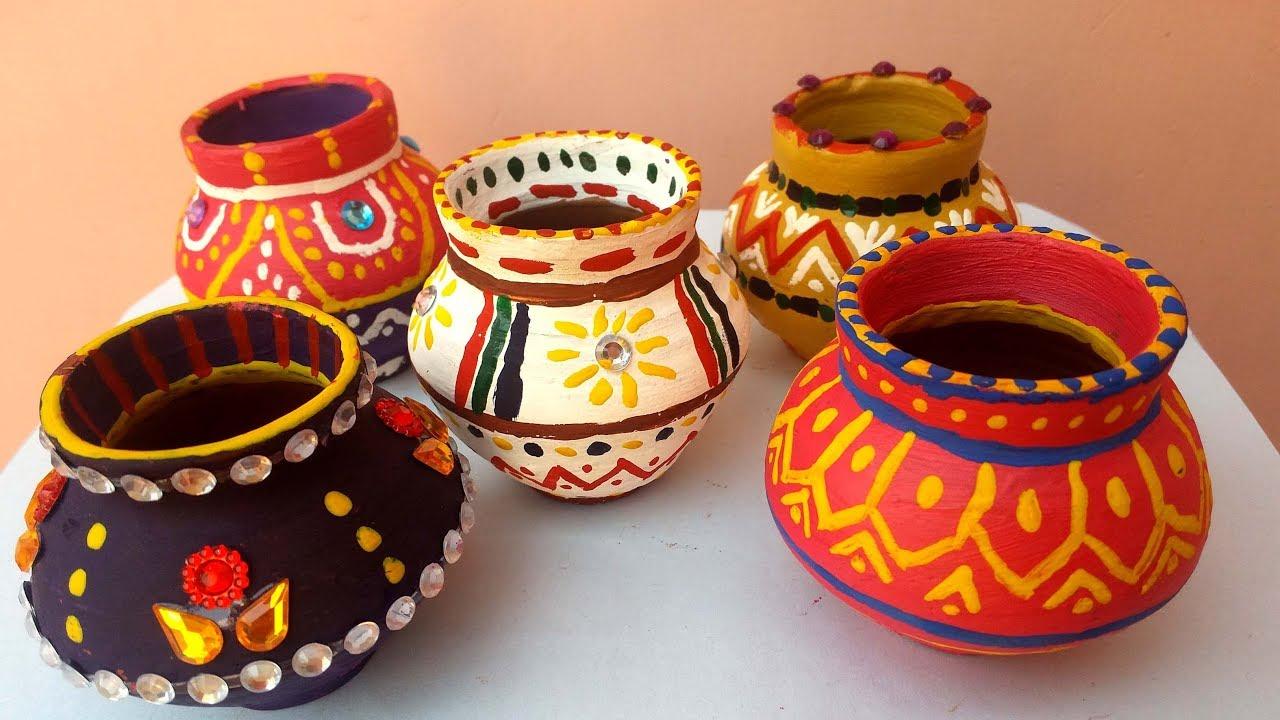 Pot Decoration Ideas For Diwali | Decoration For Home