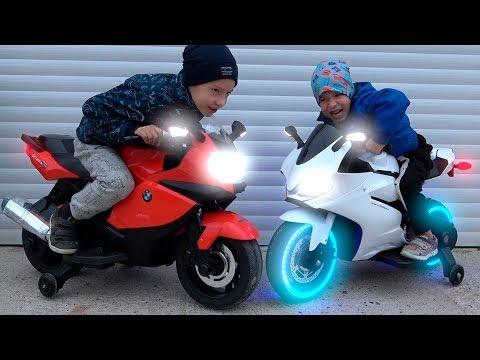 Funny Kids Ride on Power Wheels Cross Bikes Helping each other / Children's Bike / Biker Toys