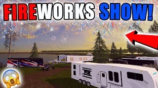 FIREWORKS SHOW!   4TH OF JULY   CAMP GROUNDS   FARMING SIMULATOR 2017