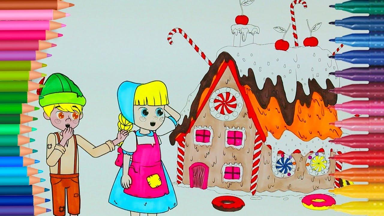 Hansel E Gretel Impara I Colori Con La Pagina Di Colorazione