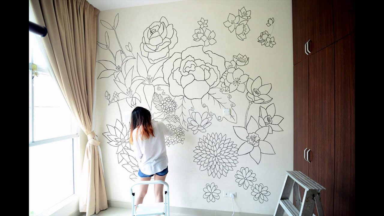 Floral a sharpie wall mural youtube - How to paint murals on bedroom walls ...