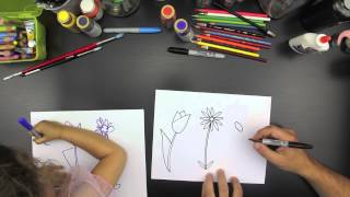 How To Draw Three Spring Flowers (for younger kids)
