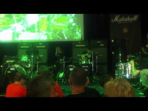 Steve Grantley (SLF) drumming with Darrin Mooney (Primal Scream) at 'Stick it to MS 2012'