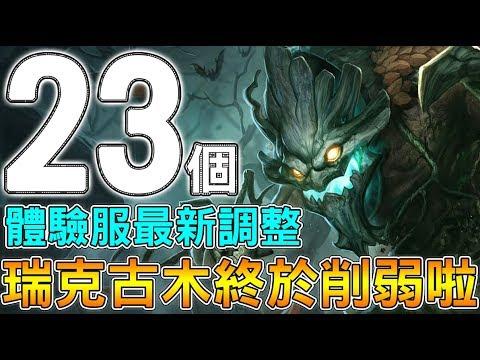 【傳說對決】23個體驗服最新調整!瑞克古木終於削弱啦!【Lobo】Arena of Valor