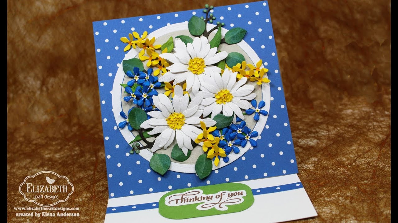 Garden Notes Shasta Daisy Forget Me Nots Forsythia Bouquet Easel Card
