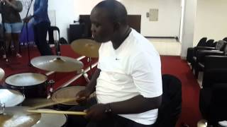 Thina Zungu Playing drums