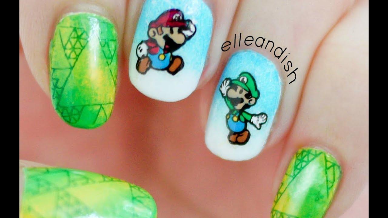 Super Mario Bros! DIY Nail Stickers Using Nail Stamping! - YouTube