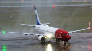 Inaugural Norwegian Air and Water salute in HEAVY RAIN at TF Green Airport (Watch in 1080p)