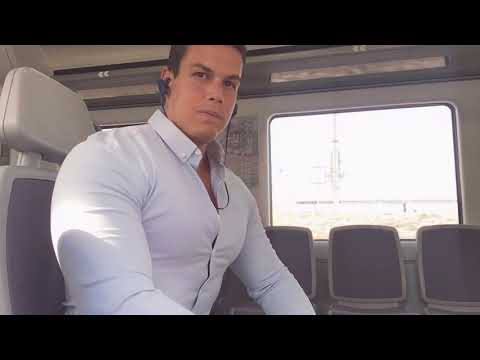 Flexing Biceps Chest In The Train. Pecs Bouncing
