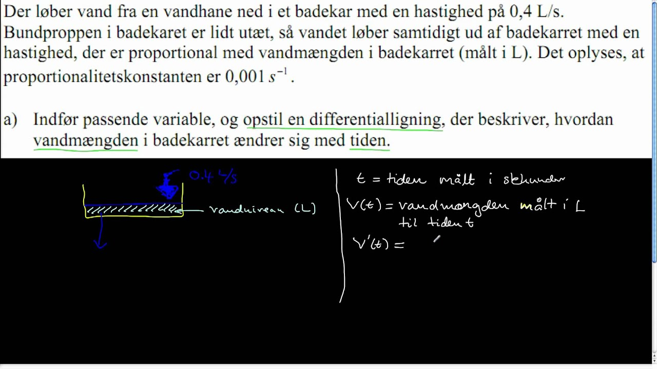 STX A 2009 Dec - Opgave 17 - Opstilling af differentialligning