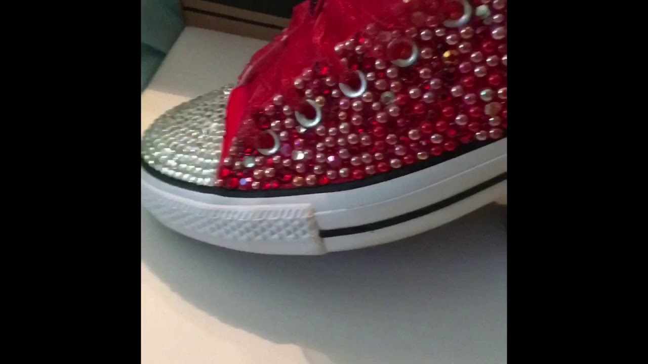 CUSTOM BLING RED CONVERSE!! DIY - YouTube c6ea8a1a4