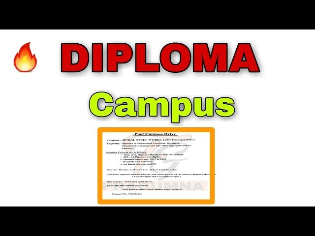 Diploma Campus Placement || FAMOUS GYAN