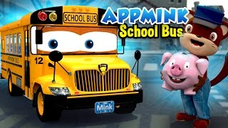 Wheels On The Bus Go Round And Round, Little Pig Goes To Town - Bus Cartoon for Kids
