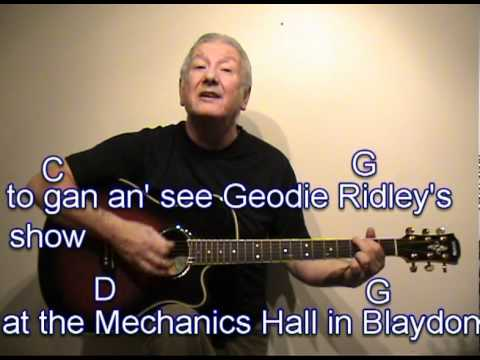 The Blaydon Races - geordie song - cover - easy chords guitar lesson - on-screen chords and lyrics