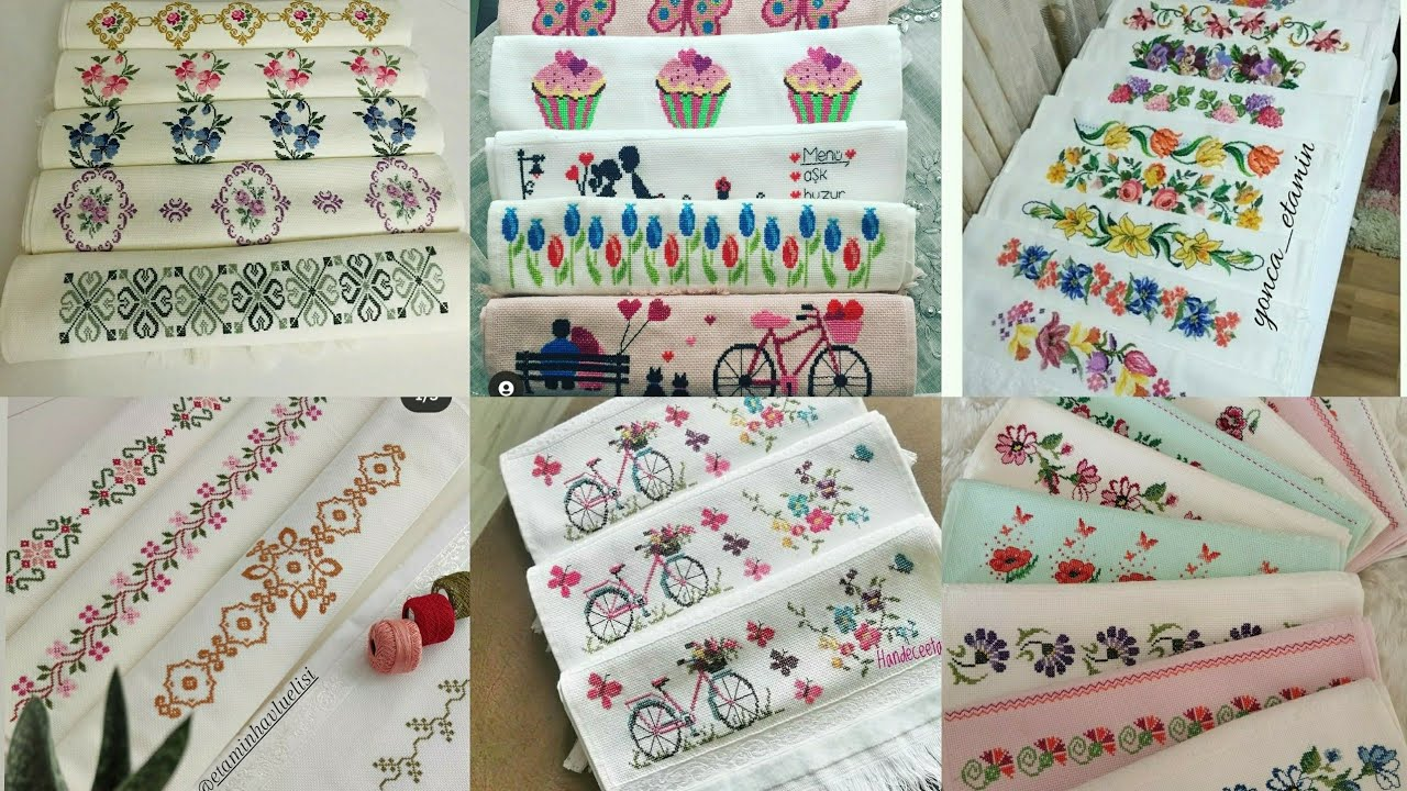 Tam 100 Tane etamin havlu modeli / Yapımı Kolay Etamin kanaviçe örnekleri! Crochet Knitting!