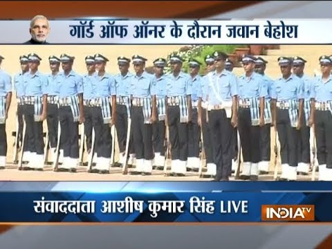 IAF guard suffers heat stroke during ceremonial reception of Seychelles President Danny Faure