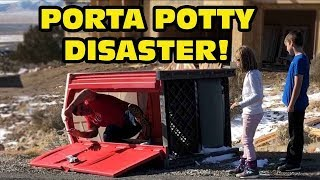Kid Temper Tantrum Tips Over Porta Potty While Daddy Was Insid…