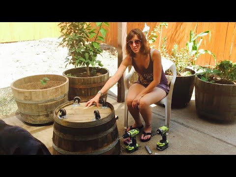 DIY Oak Whiskey Half Barrel Planter with Casters