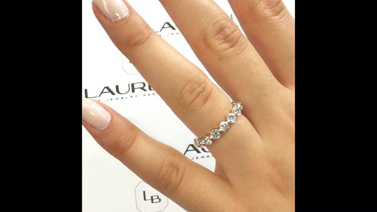 u band h at gold diamond cut i round ring prong bands wedding white cttw eternity rings