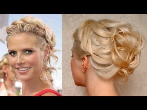 prom hairstyle for medium long hair curly updo heidi klum hochsteckfrisuren für mittel lange