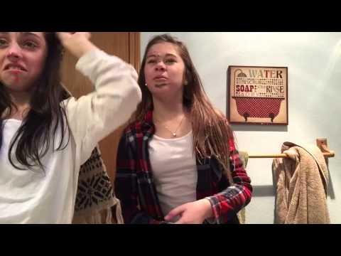 Blind folded makeup challenge TWIST  callie & mckenna 