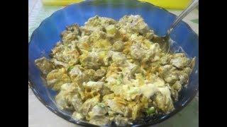 Теплый салат с куриными желудками и шампиньонами