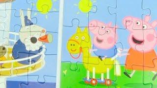 Свинка Пеппа сюрпризы и пазлы для детей