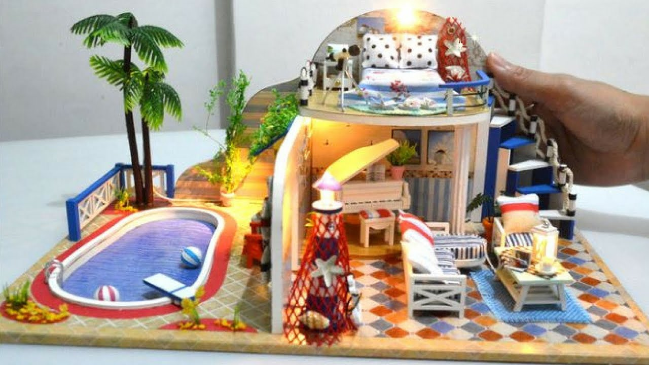 Diy Miniature Two Storey Dollhouse Living Bedroom With Swimming Pool Youtube