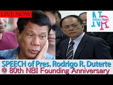 Watch: LIVESTREAM: SPEECH of Pres. Rodrigo R. Duterte @ 80th NBI's Founding Anniversary