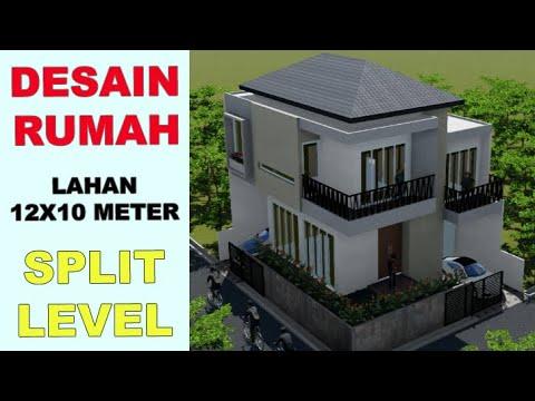 desain rumah - 12x10 meter split level - youtube
